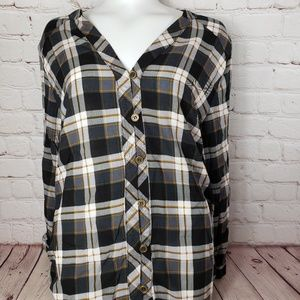 Jodifl LA Long Plaid Button Top Womens Shirt Dress